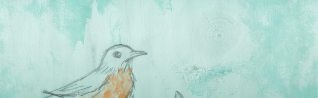 Robin's Egg Blue Wallpaper Preview - March into Spring with Wood Texture and a Pencil Sketched Robin