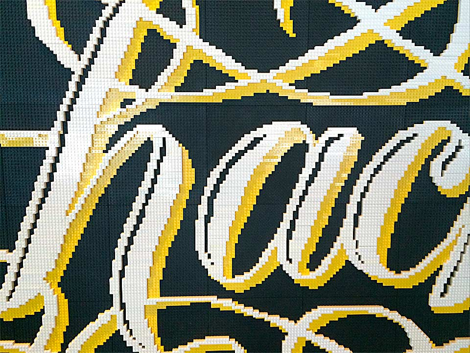 Lego Lettering by Alice Lee, hack, flourishes