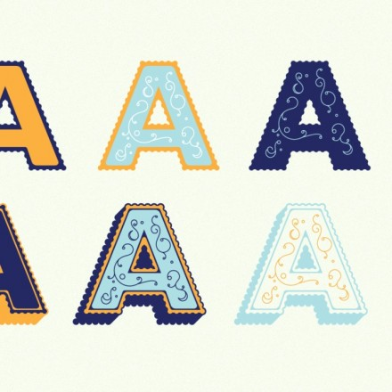 Elise Typeface by Alex Liebold - Layering Example, Letter A in pieces, solid, outline, shadow, ornaments