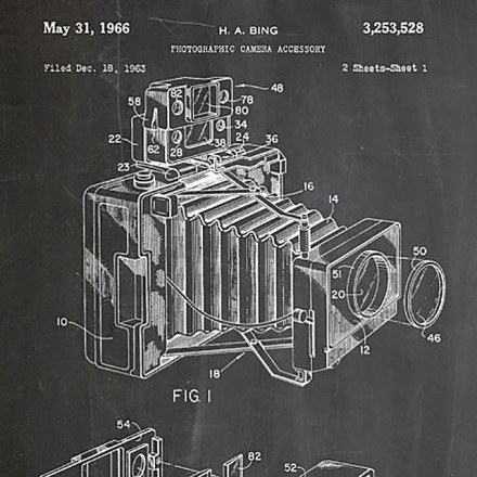 U.S Patent Diagram of a Camera Printed in White on Chalkboard Background - Patent Prints Shop on Etsy