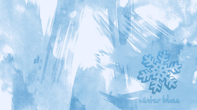 Winter Blues Wallpaper - Ice Blue Watercolor Brushes and a Snowflake