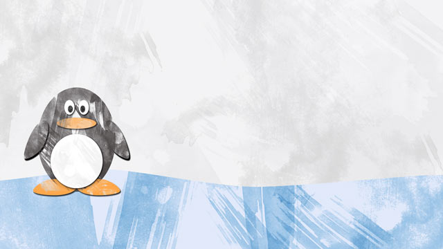 A Penguin New Year Wallpaper Preview - Frosty Blue Watercolor Brushed Background and Penguin