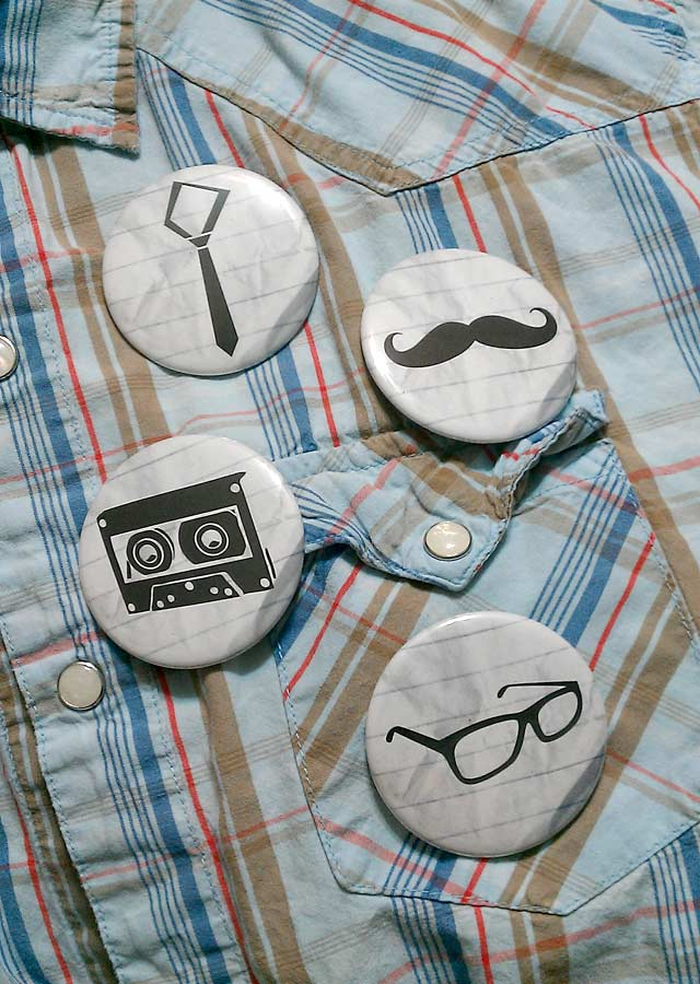 Hipster Pinback Buttons and Magnets - Skinny Tie, Moustache, Cassette Tape, Square Rimmed Glasses, Cowboy Plaid Shirt with Pearl Buttons