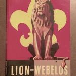 1954 Cub Scout Lion and Webelos Handbook Cover - Fleur De Lis, Carved Wood Lion Statue