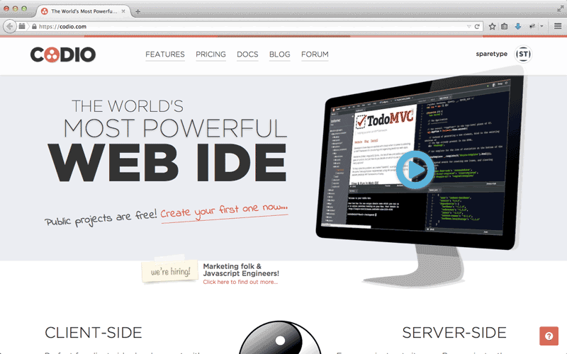 Codio Screenshot - Homepage, World's Most Powerful IDE, integrated development environment