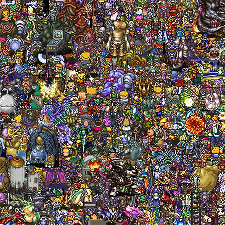 Closeup of 13000 Super Nintendo Sprites from an Image by Reddit User lax4, 16 bit pixel artwork, 8 bit graphics