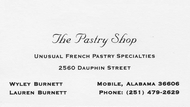 The Pastry Shop - Old Logo Business Card, Mobile Alabama, bakery, identity, branding, redesign