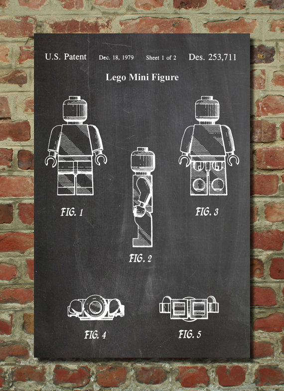 Lego Mini Figure Patent Application - Printed by Patent Prints as White Diagram on Chalkboard Background and Brick Wall