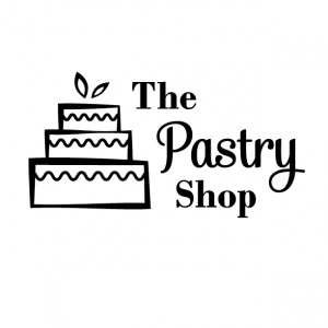 Black and White Logo for The Pastry Shop - Mobile, Alabama - cake with wavy icing, leaf accents, bakery, logo design