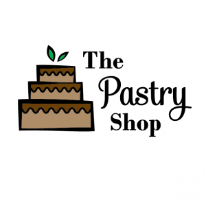Chocolate Cake Variation Logo for The Pastry Shop - Mobile, Alabama - cake with wavy icing, leaf accents, bakery, logo design