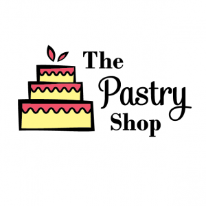 Yellow Cake Red Frosting Variation Logo for The Pastry Shop - Mobile, Alabama - cake with wavy icing, leaf accents, bakery, logo design