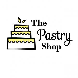 One Color Yellow Logo for The Pastry Shop - Mobile, Alabama - cake with wavy icing, leaf accents, bakery, logo design
