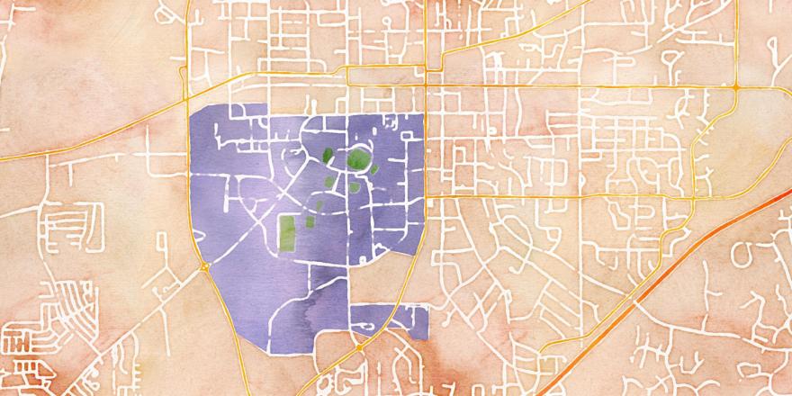 Watercolor OpenStreetMap of Auburn, Alabama