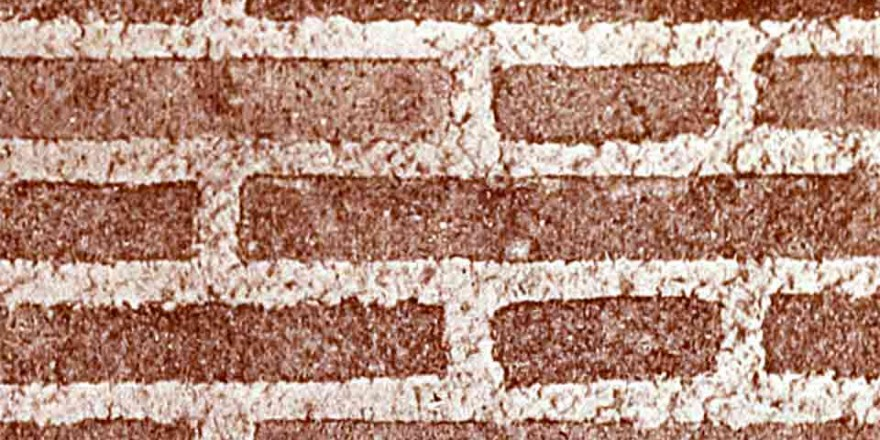 Dark Red Brick Wall with Wide Mortar Joints, close up, structured, metaphor for job roles
