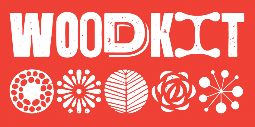 Woodkit Typeface by Ondrej Jób, Available through Typotheque, white distressed wood block type on red background, rotating letterforms, opentype alternates, ornaments