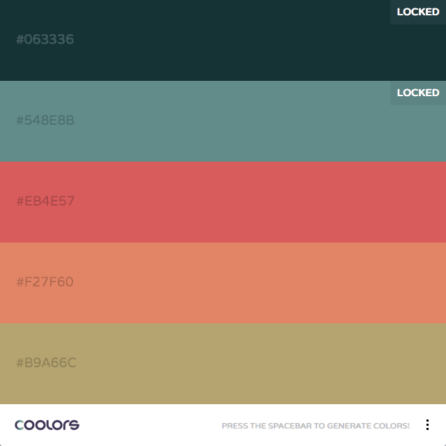 Coolors.co Color Palette, color theory, complementary, hex colors