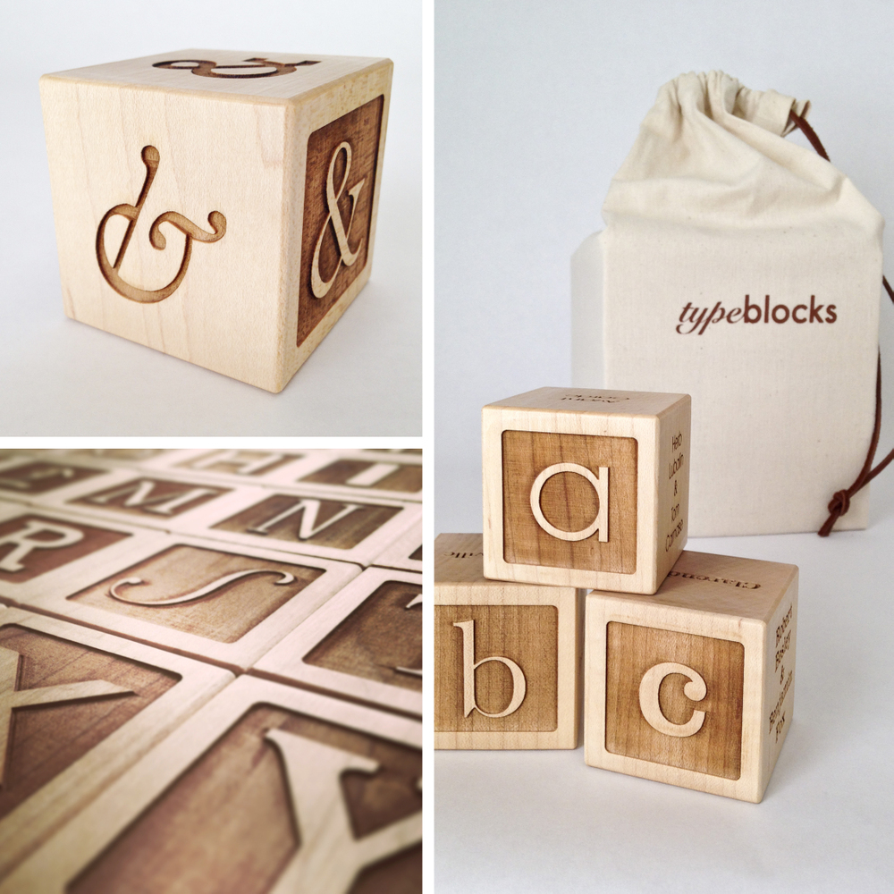 Typeblocks - maple wood alphabet blocks, font blocks, laser cut