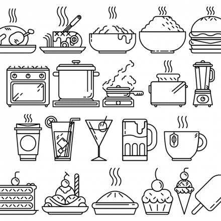 Foodie Vector Line Icons, detailed outline black icons on white background